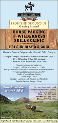 Annual Horse Packing Wilderness Skills Clinic, May 3-5, 2013